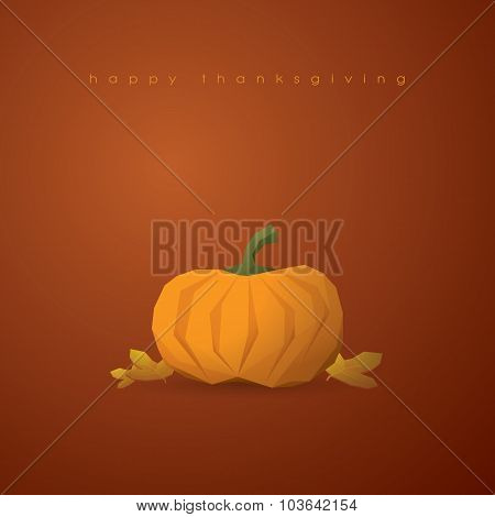 Thanksgiving background with 3d polygonal pumpkin and low poly maple leaves. Traditional american ho
