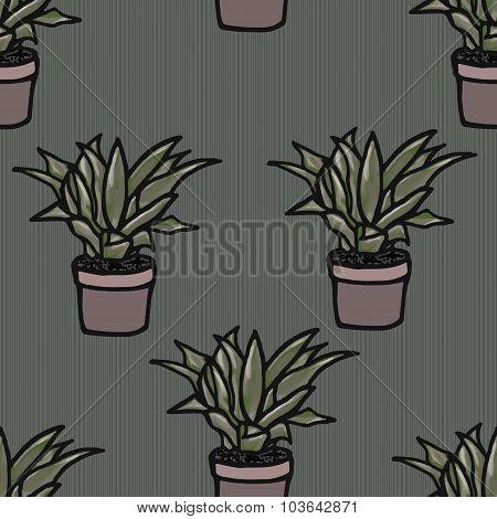 Flower In A Pot Seamless Pattern Illustration