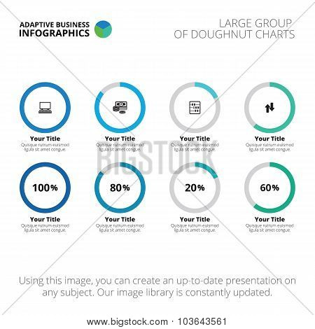 Template of doughnut charts group