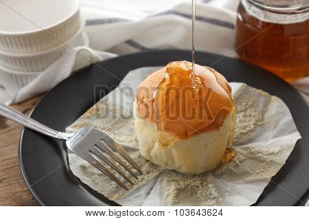 Honey Soft Cheese Cake Sweet Pastries Dessert Still Life Closeup