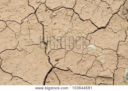 Dry Cracked Ground Filling The Frame As Background