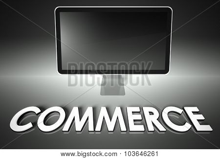 Computer Blank Screen With Word Commerce