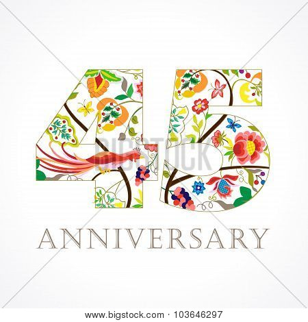 45 anniversary ethnic numbers