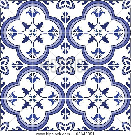Seamless pattern. Traditional ornate portuguese tiles azulejos. Vector illustration.