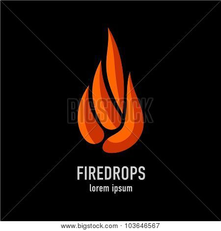 Fire Flames In A Drop Shape Logo Template