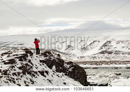 Hiker At Mountain Top Of Waterfall Godafoss