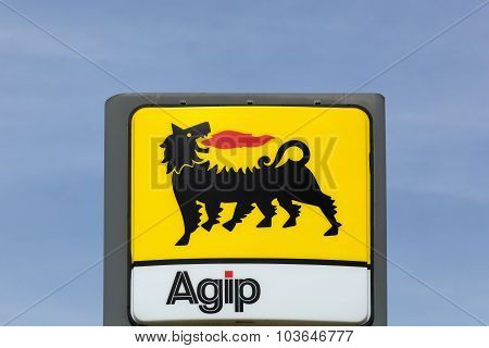 AGIP logo on a gas station