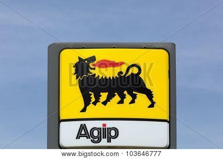 AGIP logo on a gas station