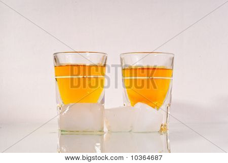 Two Shots Of Whiskey With Ice