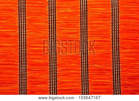 Red Strow Mat Texture With Vertical Patterns.