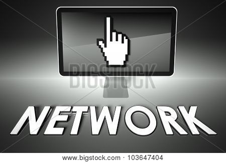 Screen And Hand Icon With Network, Internet