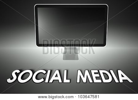 Computer Blank Screen With Word Social Media