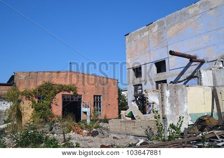 KIEV, UKRAINE - OCT 4, 2015:  Abandoned industrial complex. October 4, 2015 Kiev, Ukraine