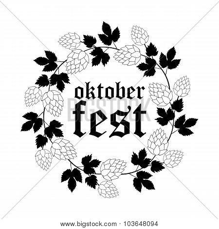 Oktoberfest Round Frame of Hops