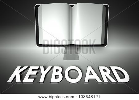 Screen And Open Book With Keyboard, Writing