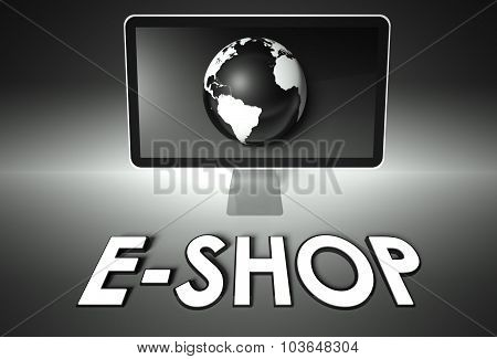 Screen And Globe With E-shop, E-commerce