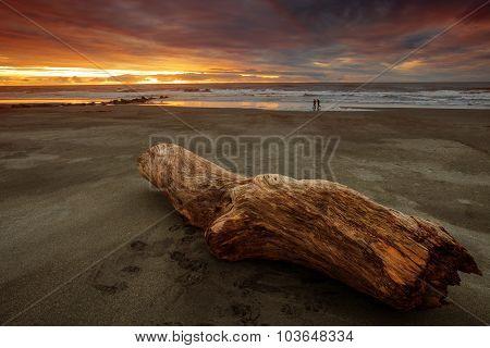Beautiful Natural Sun Set Sea Scape At Hokitika Beach South Island New Zealand