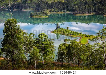 Calm lake with green islands