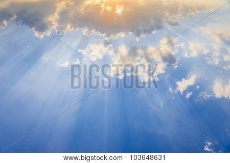 Light Of God , Sun Beam Light Through The Cloud  In Blue Sky