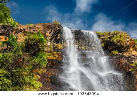Top part of the waterfall of Bambarakanda- tallest waterfall of the country of Sri Lanka - 263m (863ft)