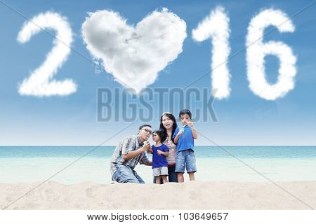 Attractive Family Playing Bubble With Numbers 2016