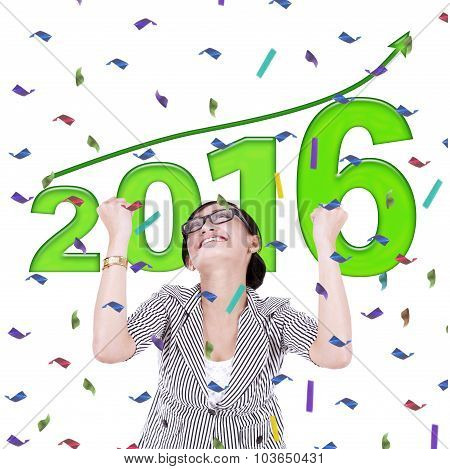 Businesswoman Celebrate New Year Of 2016