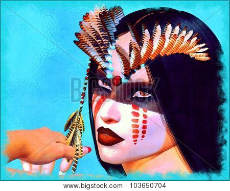 3d render of a  fantasy digital artwork of a gorgeous Native American Indian Woman. Her gaze inhaled the vibrant beauty of her people,colorful makeup, feathers and a beautiful face. We call this one: Before The Days Of Sedition.