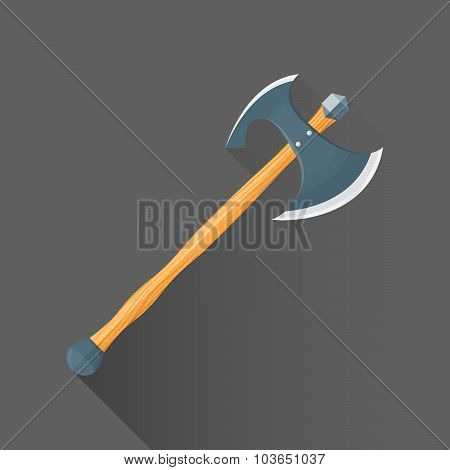 Vector Flat Style Medieval Battle Double Ax Illustration Icon.
