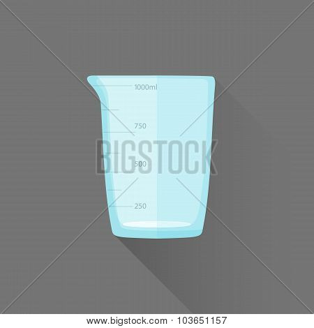 Vector Flat Style Measures Glass Illustration Icon.