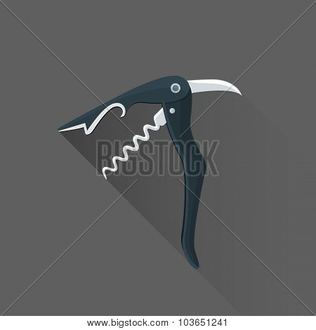 Vector Flat Style Black Sommelier Knife Illustration Icon.