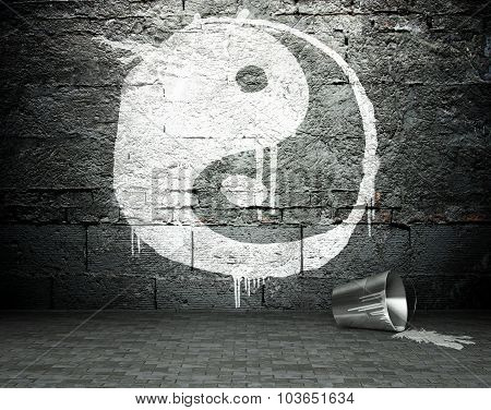 Graffiti Wall With Yin Yang, Street Background