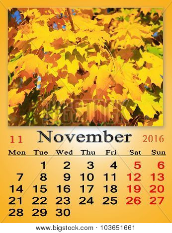 Calendar For October 2016 With Yellow Leaves Of Maple