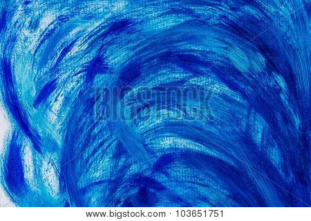 Acrylic Paints Background In Blue Tones. Abstract Waves And Sea Theme.