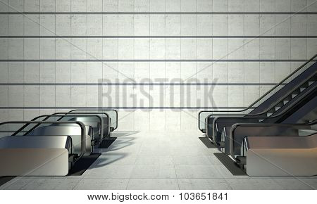 Moving Escalator And Empty Wall In Modern Building