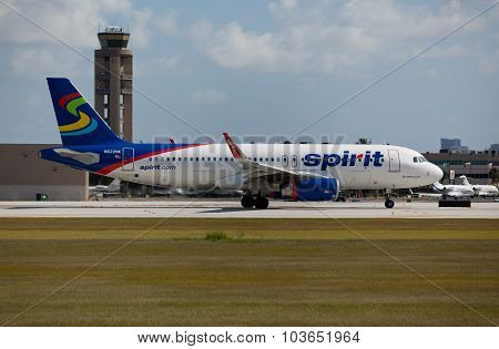 FORT LAUDERDALE, USA - JUNE 2, 2015: A Spirit Airlines Airbus A320 taxiing.