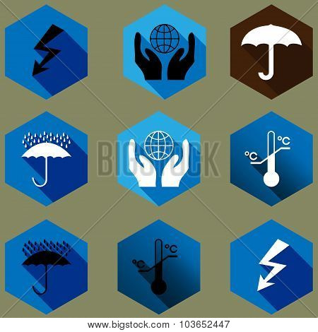 Cargo Protection Icons Silhouette