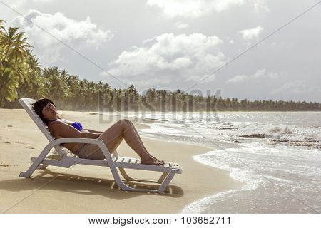 Middle-aged Woman On The Beach