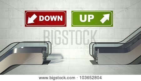 Moving Escalator Stairs, Up Down Sign