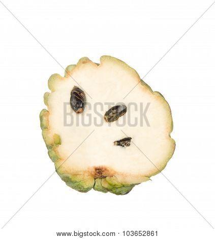 Sliced Custard Apple Isolated On White