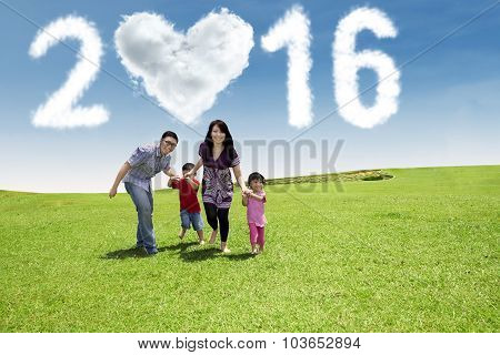 Family Running In Nature Under Numbers 2016
