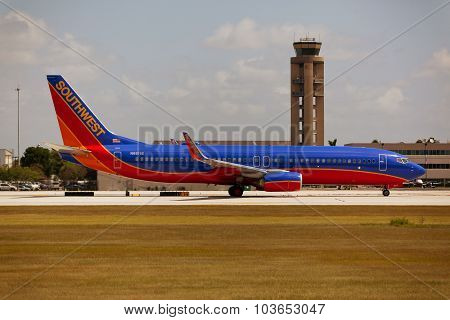 FORT LAUDERDALE, USA - JUNE 2, 2015: Southwest Airlines Boeing 737 taxiing.