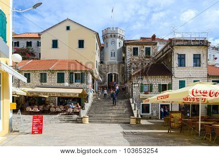 Tower Sahat Kula (clock Tower) On Square Of Nikola Dzhurkovicha In Herceg Novi, Montenegro