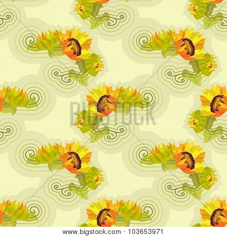 Sunflowers yellow seamless background with green leafs.