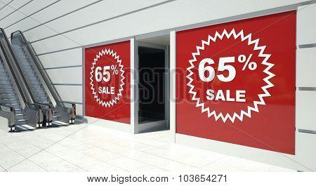 65 Percent Sale On Shopfront Windows And Escalator