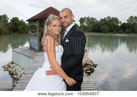 Newly Wedding Couple Outside And Happy Together