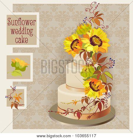 wedding cake design with sunflower and wild grapevine