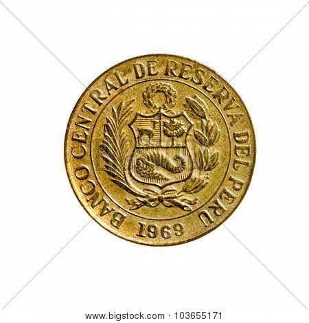 Twenty Centavo Coin Peru Isolated On White Background. Top View.