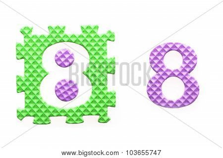 Colored Puzzles With Number 8 For Children