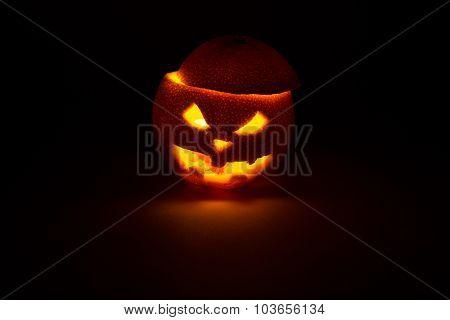 Halloween Orange Fruit Jack  Lantern On Dark