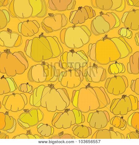 Pumpkin seamless vector pattern background